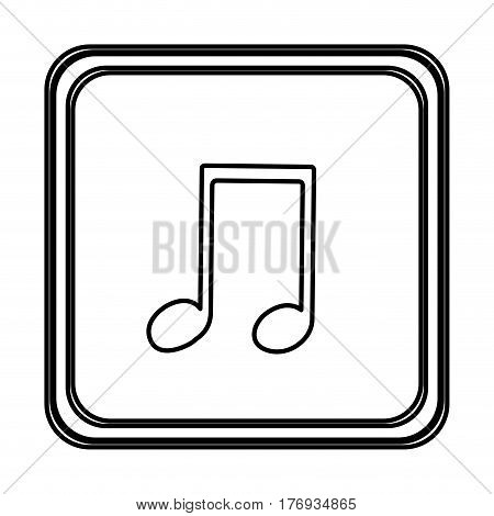 monochrome contour with button of musical note vector illustration