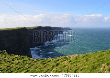 Beautiful sweeping vista of the Cliff's of Moher in Ireland.