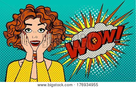 Sincere women's surprise. A girl with an open mouth says WOW. Retro comics style. Pop art vector illustration on a blue background.