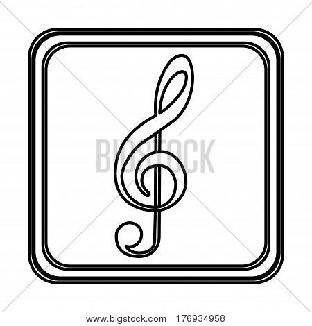 monochrome contour of button of treble clef vector illustration