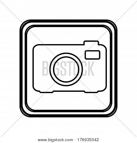 monochrome contour of button with analog camera vector illustration