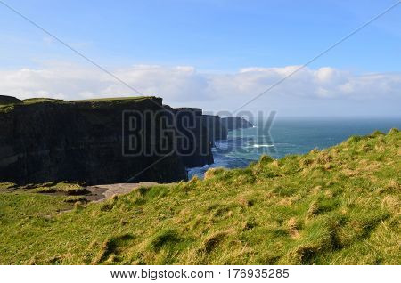 Beautiful towering seacliffs over Galway Bay in Ireland.