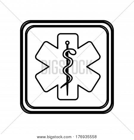 monochrome contour of button with star of life vector illustration