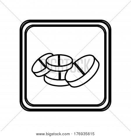 monochrome contour of pills icon vector illustration