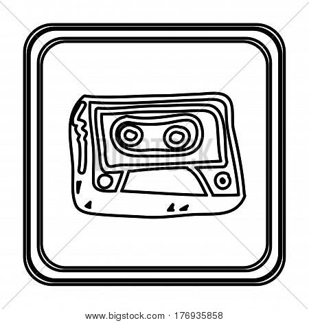 monochrome contour with button of cassette tape hand drawn vector illustration