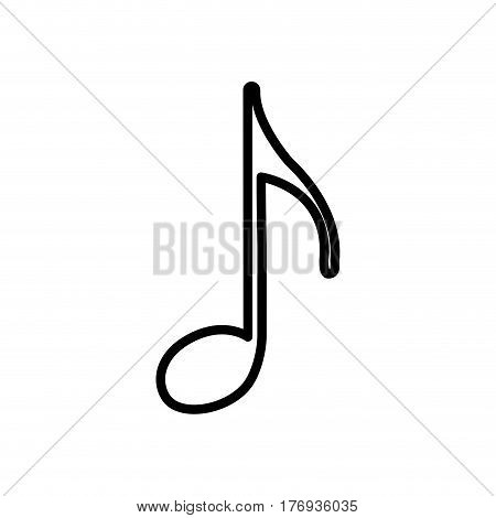 monochrome contour with eighth note vector illustration