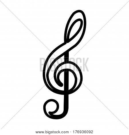 monochrome contour with treble clef vector illustration