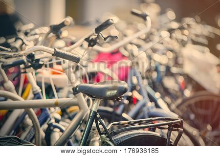 beautiful view on bicycles on parking places close up