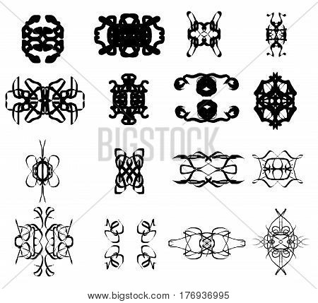 Symmetrical vector shapes isolated over white background elegant pattern