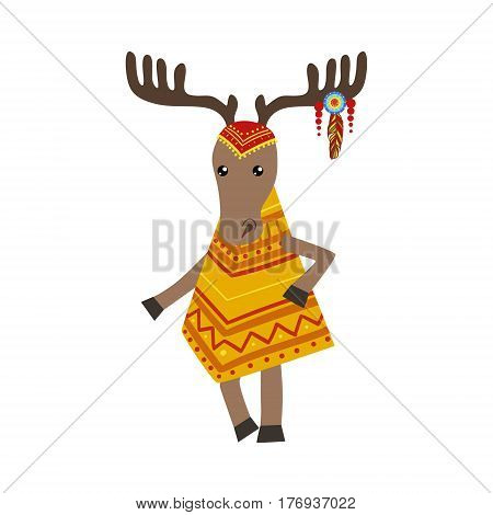 Moose Wearing Tribal Clothing  Colorful Flat Isolated Icon In Cool Detailed Artistic Design Isolated On White Background