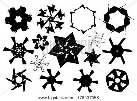 Black and white stars and snowflakes shapes isolated over white background vector illustration set vector icons collection