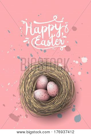 Easter greeting card, nest with spotted pink eggs on pink background, vector illustration, eps 10 with transparency and gradien meshes