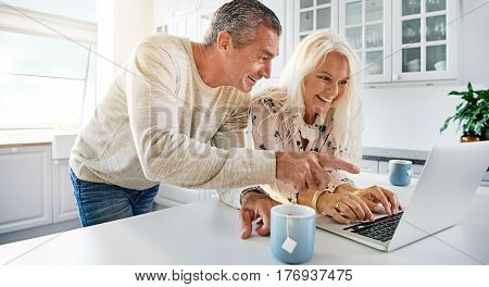 Happy Senior Couple Browsing The Internet Together