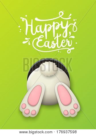 Text Happy Easter and white bunny bottom on green background, vector illustration, eps 10 with transparency and gradient meshes