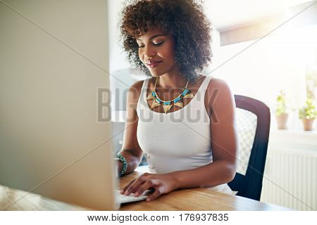 Stylish Young Businesswoman Typing On A Computer
