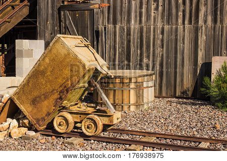 Vintage Tilt Ore Bucket Used For Mining Operations