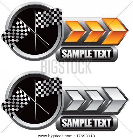 racing checkered flags on shiny arrow banners