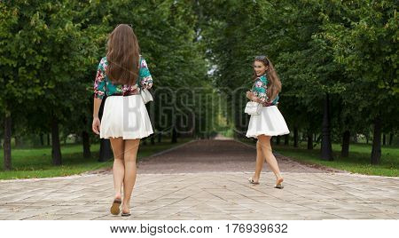 Collage, Young happy brunette women in white skirt and blouse walking in the summer parkrs