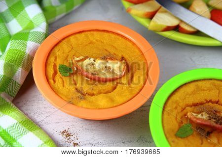 casserole pumpkin silicone in the form of baked Apple,honey and cinnamon