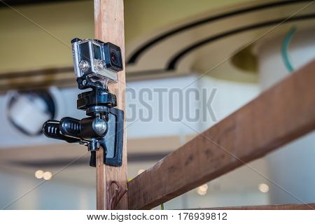 Action camera on an pole in film production