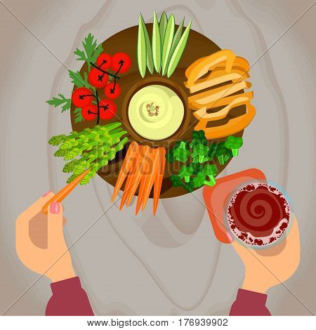 Person is vegetables and hummus with glass of beer on wooden table. Top view Vector illustration eps 10
