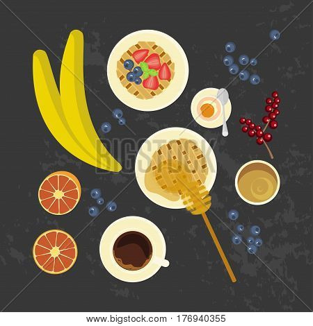 Breakfast with waffles, fruit, honey and cup of coffe on the grey background. Top view Vector illustration eps 10