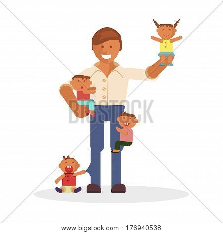 Vector Illustration with dad and children. Baby son and daughter.