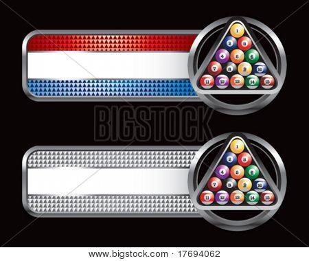 Billard-Kugeln auf rot weiß und blau-Web-Banner