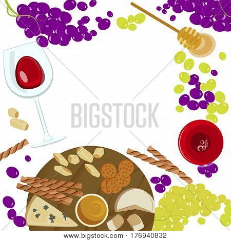 Grapes, honey, cheese with glass of wine on the white background. Top view Vector illustration eps 10