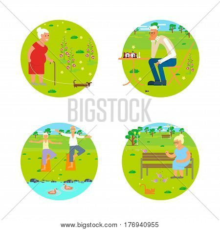Banners of Retired elderly seniors age couple in flat character design. Grandpa and grandma walking in the park. Grandparents with walking stick and invalid chair outdoor isolated. Vector eps 10