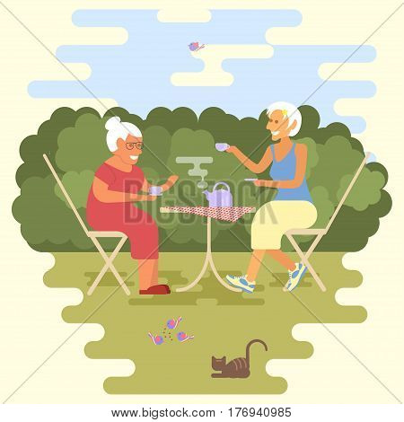 Banner of Retired elderly senior age couple in flat character design. Two old women have a tea party in park. Isolated vector illustration eps 10