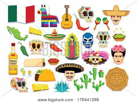 Vector Set Of Mexican Elements Isolated On White Background