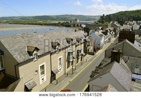 Conwy Wales United Kingdom - June 22 2014 : The historical medieval Conwy town