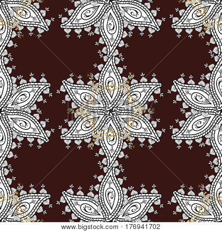 Graphic modern pattern. Seamless vector background with white doodles. Sketch baroque damask. Seamless pattern floral pattern.