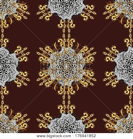 Golden pattern on brown background with golden elements. Vector geometric background. For your design sketch. Golden color seamless illustration.
