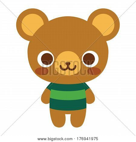 Vector Cute Happy Bear Isolated On White Background