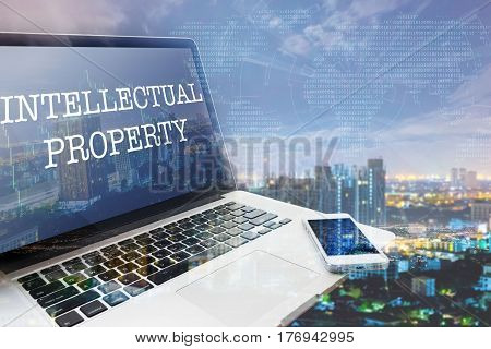 INTELLECTUAL PROPERTY: Grey computer monitor screen. Digital Business and Technology Concept. Double Exposure Effects.