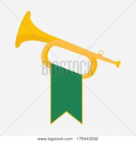 Trumpet with green flag icon Brass Bugle vector Illustration Horn flat design