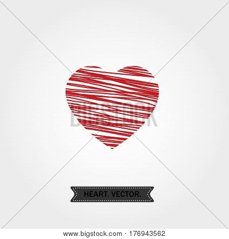 linear red heart with oblique lines icon, logo, symbol of love on white background. use in decoration, design, emblem. vector illustration.