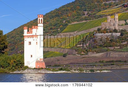 Castle Ehrenfels at the Rhine River in Germany