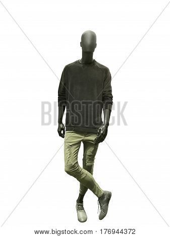 Full-length male mannequin dressed in casual clothes isolated. No brand names or copyright objects