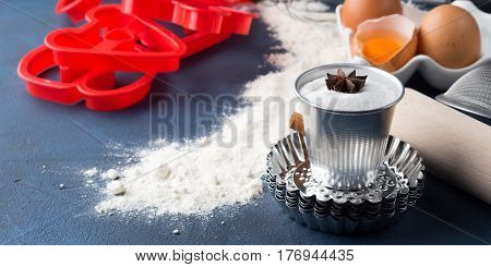 Baking Tools Sweet Cake Cookie Ingredients Dark Background