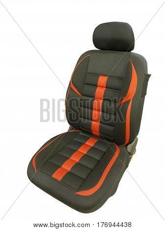 Black car seat isolated on white background.