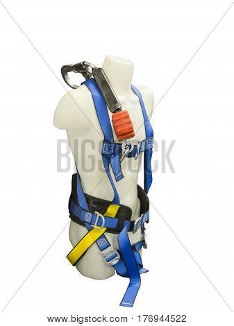 Mannequin in safety harness equipment and lanyard for work at heights. Isolated on white background.