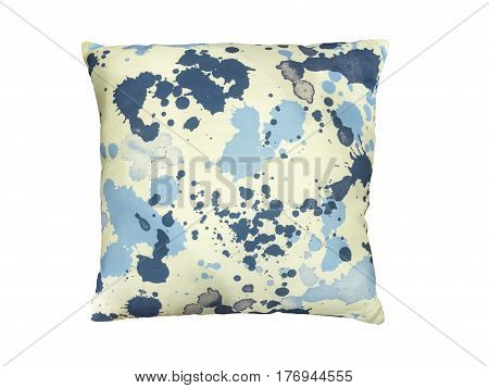 Colorful throw pillow with abstract pattern. Isolated on white background.