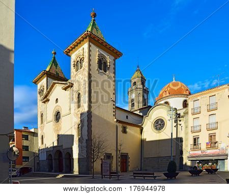 TORELLO/ SPAIN - MARCH 27, 2015. Church of sant Feliu (Parroquia de Sant Feliu) in municipality Torello, province Barcelona, Spain.