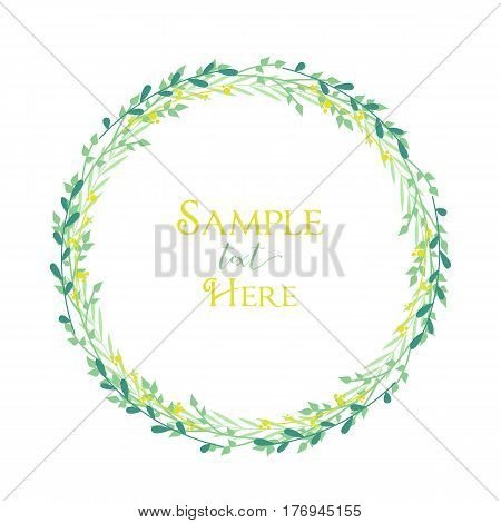 Vector illustration of decoration branches witt leaves. Wreath with tree branches with place for text