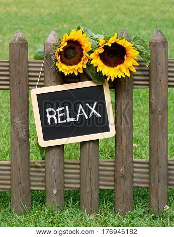 Relax - chalkboard with sunflowers in the garden