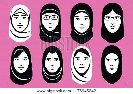 Vector Set Of Different Middle Eastern Women