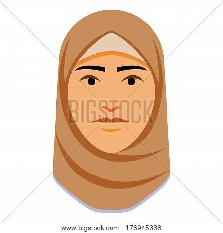 Vector Minimalist Middle Eastern Woman Face Isolated